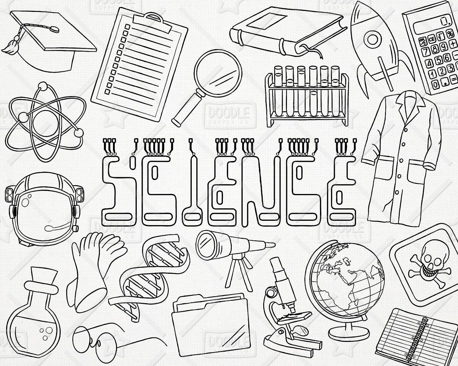 doodle science vector pack  science doodles  mad scientist clipart  experiment clipart  science