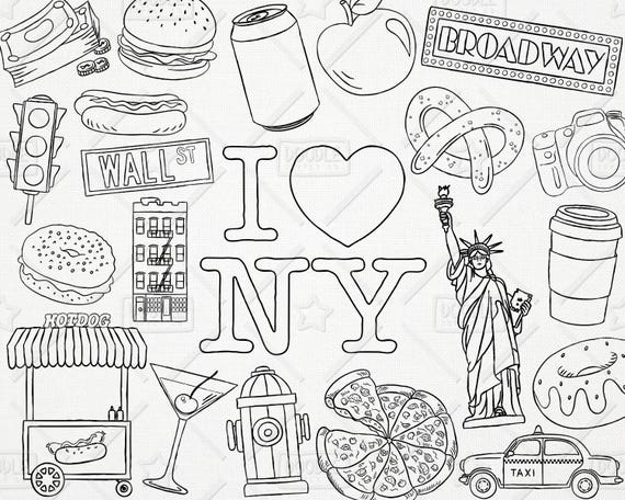 Doodle New York Vector Pack New York Clipart Vacation