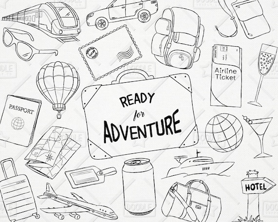 doodle travel vector pack hand drawn clipart vacation etsy What to Do in Guam image