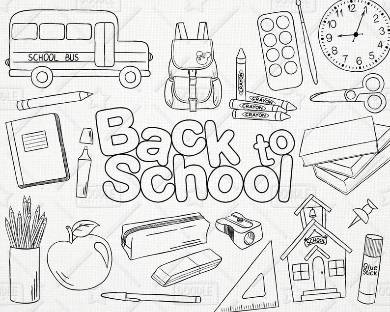 Doodle Back To School Vector Pack Hand Drawn School Clipart