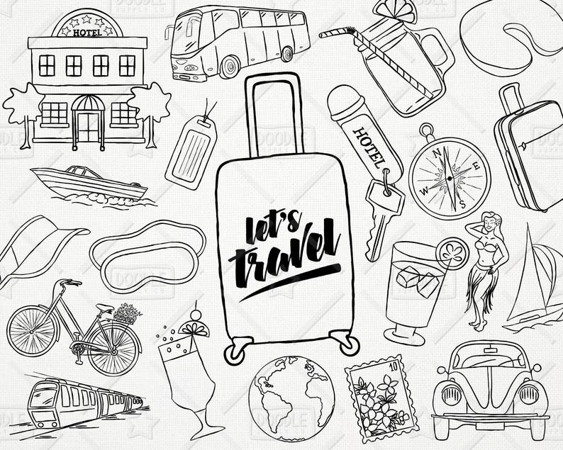 Doodle Travel Vector Pack Hand Drawn Clipart Vacation