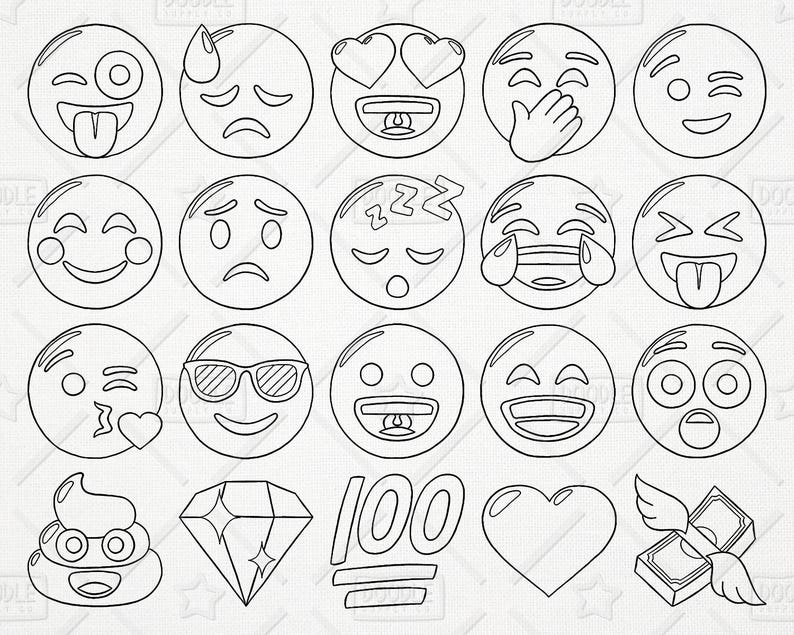 Doodle Emoji Vector Pack Smiley Faces Clipart Hand Drawn