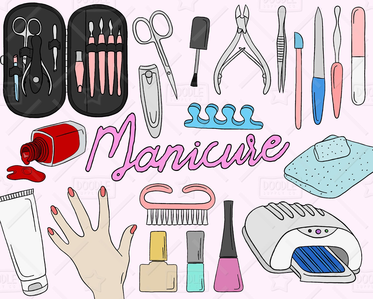 Manicure Clipart Vector Pack Manicure Doodles Beauty | Etsy