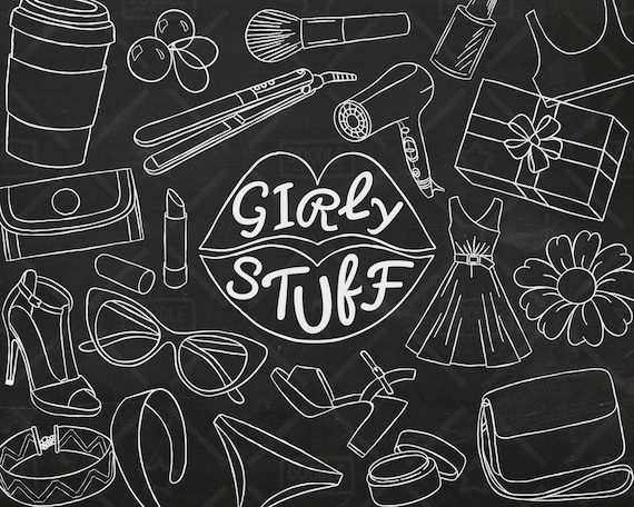 Makeup Clipart Planner Girl Doodle Girly Stuff Vector Pack Pretty Things Girly Things SVG Girly Clipart PNG file Girly Sticker