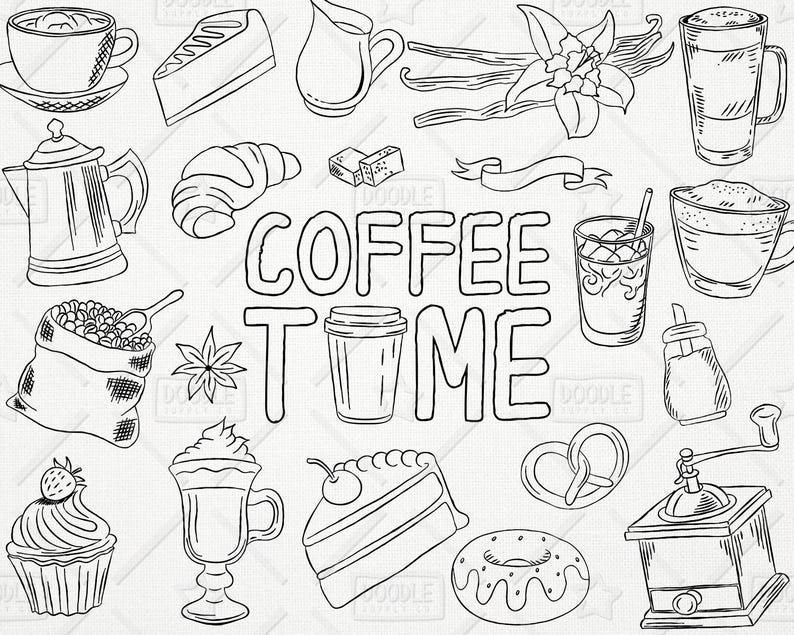 Doodle Coffee Vector Pack Coffee Shop Bakery Cafe Clipart