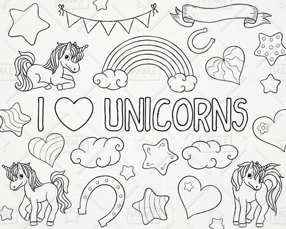Unicorn Hearts Stars Wall Art Stickers Girls Bedroom Decals 64 Hearts /& Stars PN