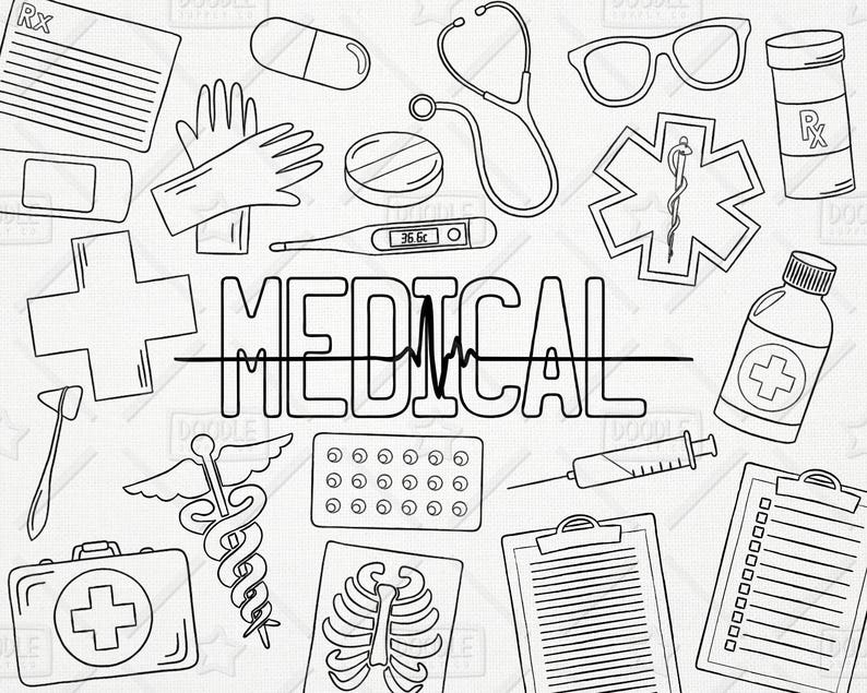 Doodle Health Vector Pack Medical Clipart Healthcare