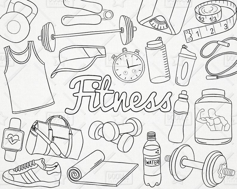 Doodle Fitness Vector Pack Gym Clipart Workout Clipart