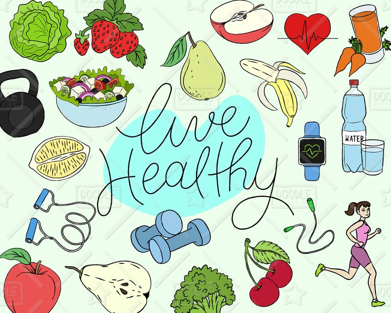 Healthy Lifestyle Clipart Vector Pack, Live Healthy Graphics, Health  Clipart, Fitness, Fruit, Vegetable, Health Sticker, SVG, PNG file