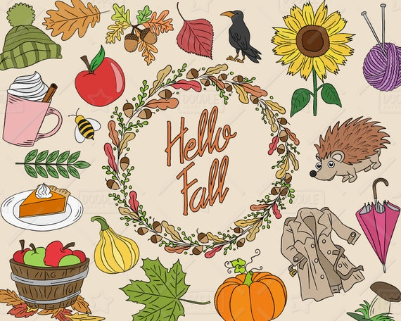 Hello Fall Clipart Vector Pack Autumn Clipart Fall Icons ...