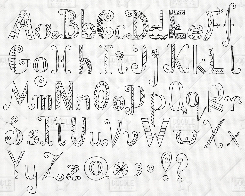 Download Doodle Alphabet Clipart Vector Pack Hand Drawn Font ...