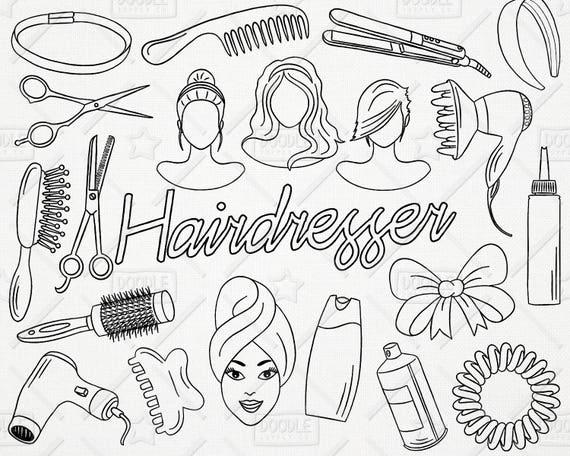 doodle hairdresser vector pack hairdresser doodles beauty