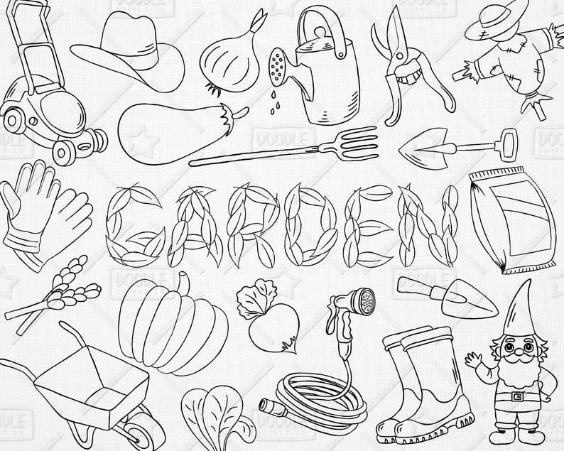 Doodle Gardening Vector Pack Garden Clipart Vegetables