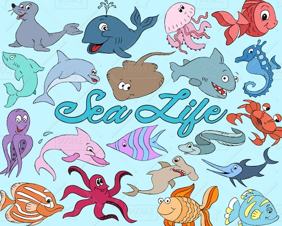 Items similar to Sea Life Clipart Vector Pack, Ocean ...