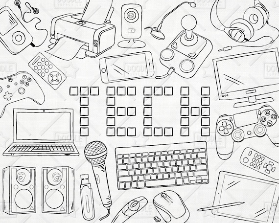 Doodle Technology Vector Pack Tech Clipart Electronics | Etsy