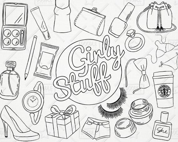 doodle girly stuff vector pack girly things girly clipart
