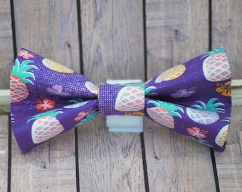 Purple Pineapple Passion Dog Bow Tie