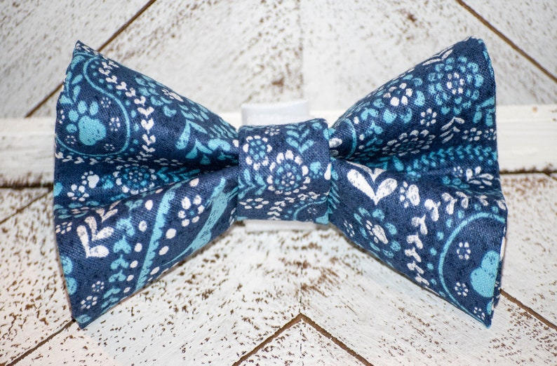 Blue Paw Print Paisley Floral Dog Bow Tie