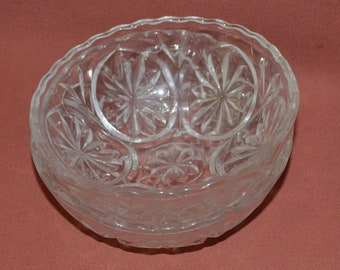 Vintage Crystal Set of 2 Small Clear Glass Crystal Bowls 1960's Decor