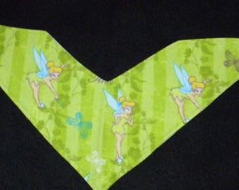 Handkerchief drool bib.  Tinkerbell.