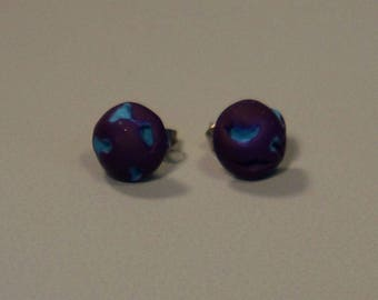 Purple and blue earring, handmade polymer clay earring