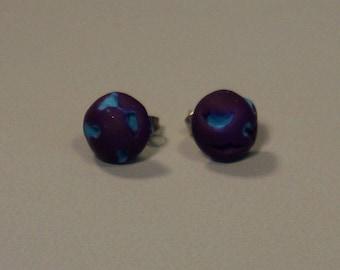 Purple and blue earring, handmade polymer clay earring