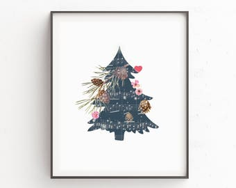 Christmas Art Gift Holiday Prints Wall Decorations Tree Decor Merry