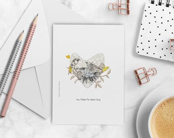 Greeting Card, Romantic Card, Illustrated Love Card, Anniversary Card, Card for Lovers, You Are So Loved, Wedding Gift, Romantic Print, Love