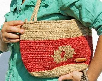 Red Jute Handbag. Sustainable Natural Fibre Bag with Ethnic motif. Everyday / Tablet / Shoulder Bag