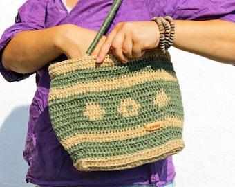 Green Jute Handbag. Strong, Durable Eco Bag. Sustainable Shoulder Bag.