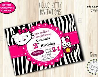 Hello Kitty Pink and Black (Zebra) Birthday Invitation - Instant Download, Editable