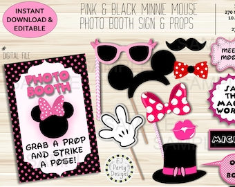 Pink and Black polka dot Minnie mouse editable Photo booth sign & props - instant download
