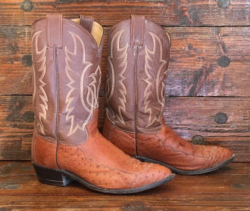 1e097f6494b Tony Lama Ostrich Leather Cowboy Boots Mens 9.5 D