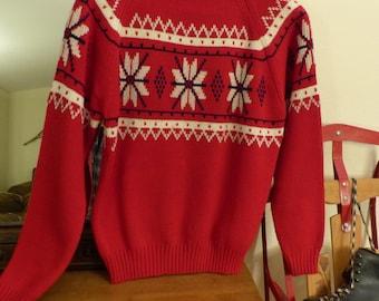 Vintage JC Penney Red Snowflake Ski Sweater MM/WM