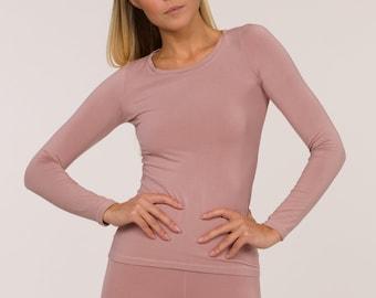 Long Sleeve pink top, bamboo top, bamboo activewear-homewear.loungewear