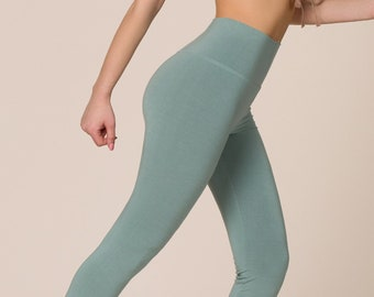 Bamboo High-Waisted Slim Boot-Cut Yoga Pants For Women, Sage Green Yoga Bell-bottom Pants, Sage Green Flared Trousers, Made in Italy