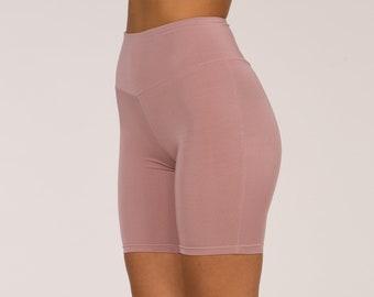 High Rise Biker , Biker Yoga Pants, Pink Biker Pants, High Rise Pin Biker