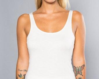 Bamboo Tank Top, Yoga Tank Top for Women, White Tank Top, Yoga Singlet Woman in Bamboo, Kundalini Yoga Top, Made In Italy