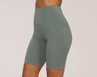 High Rise Biker Shorts, Yoga Biker Short, High Waist Biker shorts, Sage Biker Shorts, Christmas Gift, Made in Italy