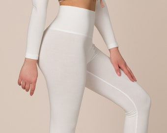 Bamboo High Waist Legging, White Bamboo Dancer Pants, Yoga Bell-bottom Pants, White Flared Trousers, Made in Italy