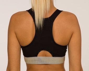Black Sport Bra, Yoga Bra, Yoga Top, Sport Bra with soft Lurex elastic band, Bamboo Cotton Sport Bra, Luxury Active Wear
