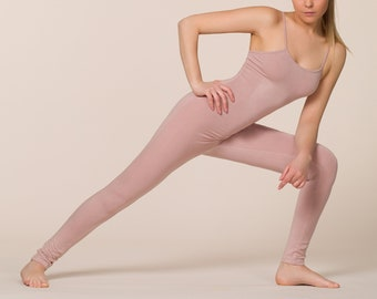 Bamboo Yoga Jumpsuit, Yoga Catsuit, Bamboo Yoga Onesie, Pink Full Bodysuit, Pilates One piece, Sustainable Jumpsuit, Made in Italy
