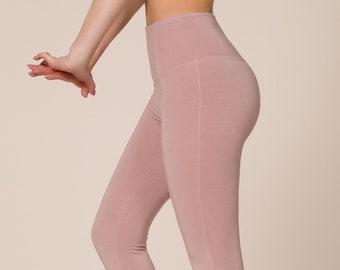 Bamboo 7/8 High Waist Pink Leggings, Pink Bamboo Yoga Pants, Pink Capri, Pink Yoga Legging, Kundalini Yoga Leggings, Made in Italy
