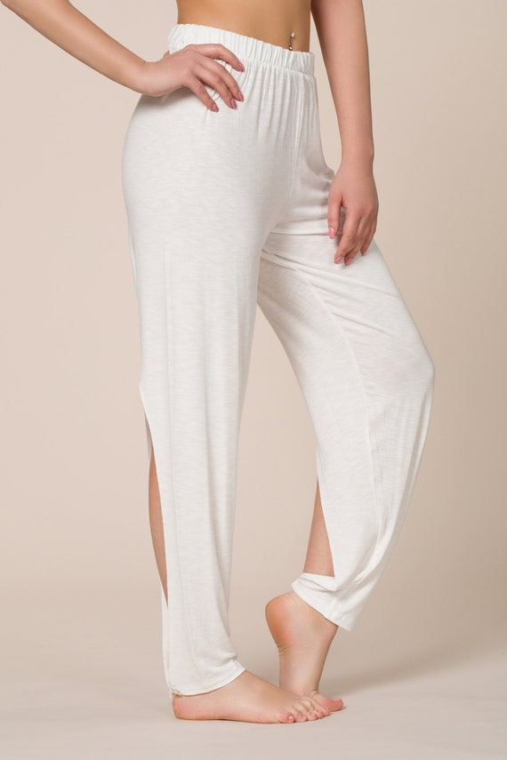 White Bamboo Harem Pants