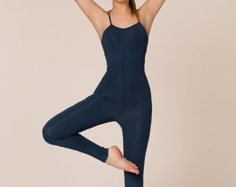 Bamboo Yoga Jumpsuit, Yoga Catsuit, Bamboo Yoga Onesie, Blueberry Full Bodysuit, Pilates One piece, Sustainable Jumpsuit, Made in Italy