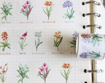 Flowers washi tape, Planner washi tape,Lily Washi Tape, 40MM flowers illustration /decorative for journals and plants Cardmaking/ Wall Decal