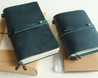 Leather TN journal kit, travelers notebook cover pocket journal refillable, 3 refills 2 inserts wrapper binder personal passport size