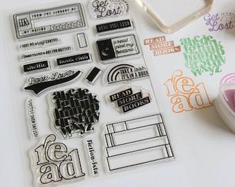 Reading stamp, bullet journal reading tracker stamp, reading planner stamp, bujo stamp, clear rubber stamp bookstack stamp