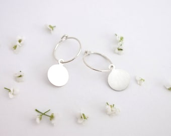 Tiny charm earrings - Small hoop earrings, Disc earrings, Tag earrings, Dainty earrings, Minimalist hoops, Minimalist earrings, Silver hoops