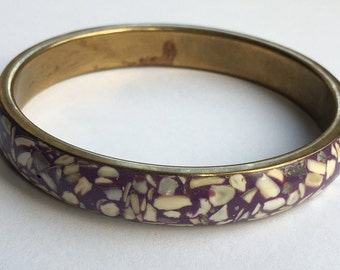 Vintage Abalone Shell Bangle Bracelet Attractive Mosaic Design Gift Boxed Vintage Jewellery Great Cond